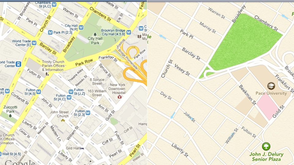 Google Maps vs. Apple