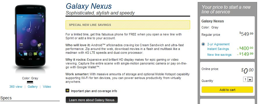 sprint's Galaxy Nexus