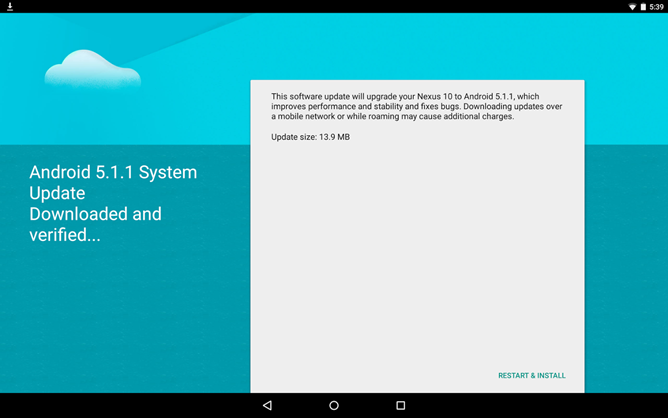 Nexus 10 5.1.1 lollipop update