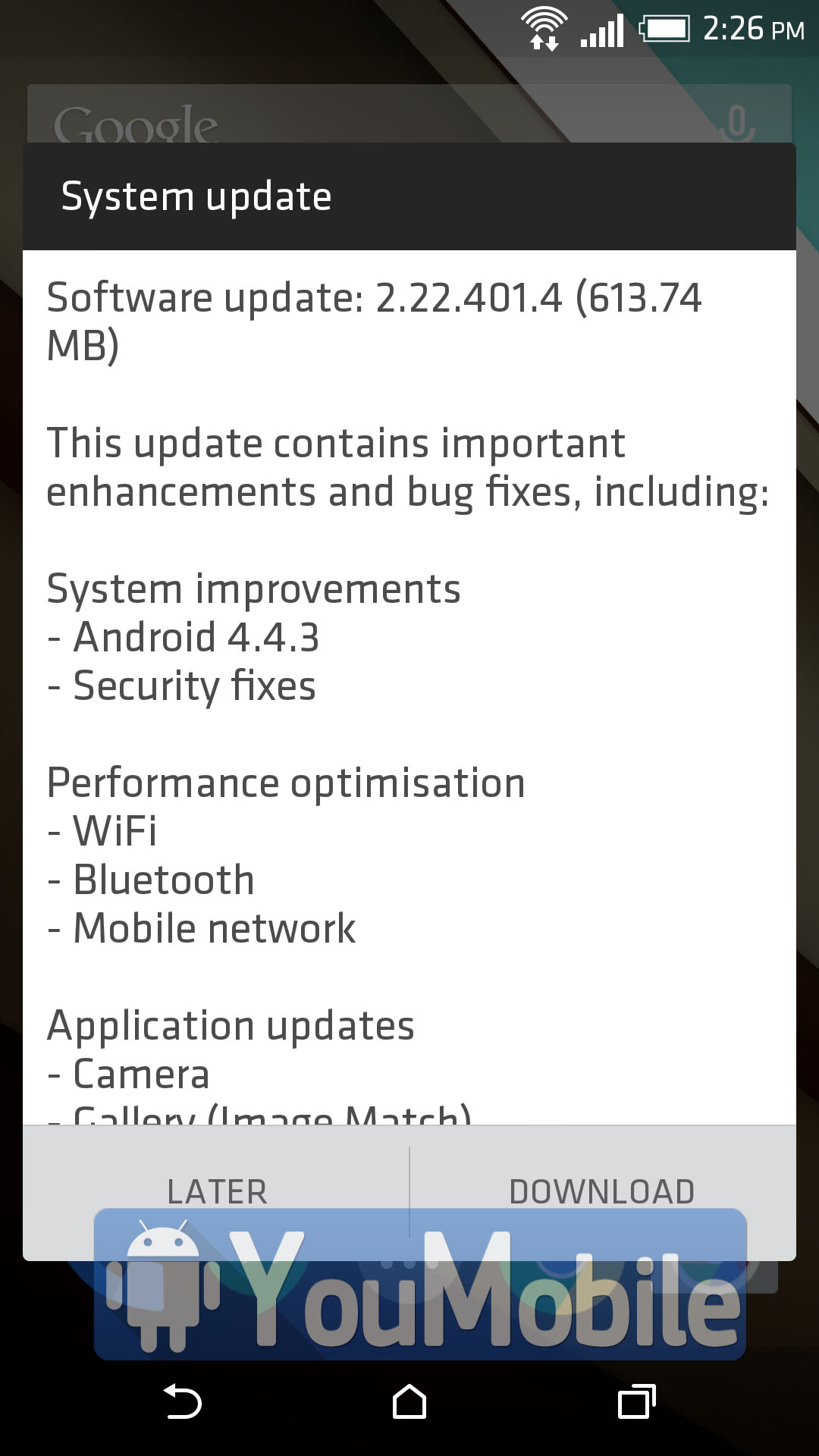 HTC One M8 Android 4.4.3