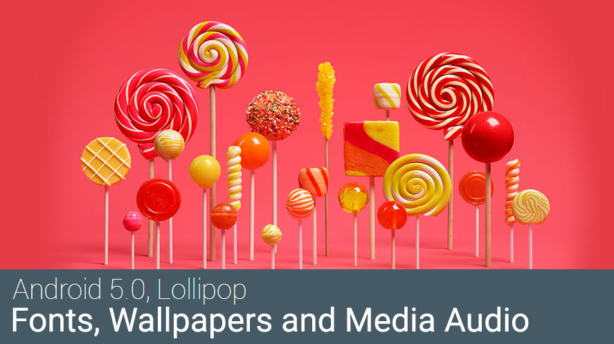 Lollipop Wallpapers fonts and Audio