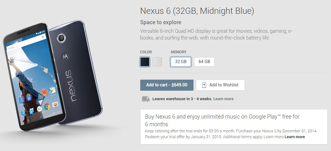 Moto Nexus 6 Preorder