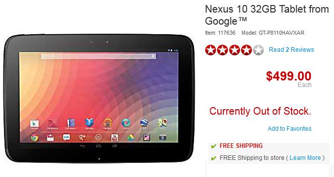 Nexus 10 $499